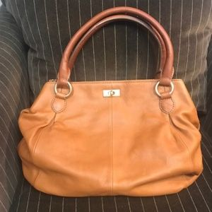 J. Crew Leather Brompton Hobo Bag in Cognac